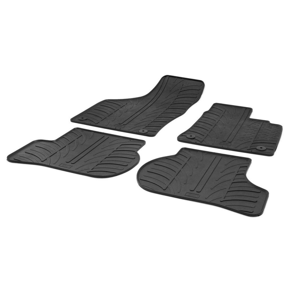 Tailored Black Rubber 4 Piece Floor Mat Set to fit Volkswagen Golf Hatchback (5 Door) Mk.6 2008 - 2012