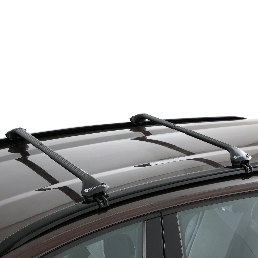 Oval Aluminium Black Roof Bars to fit Audi A6 Avant (C6) 2005 - 2011 (Closed Roof Rails, Estate)