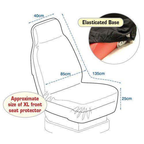 XL Pair of Front Black Car 4x4 Van Seat Protector Covers