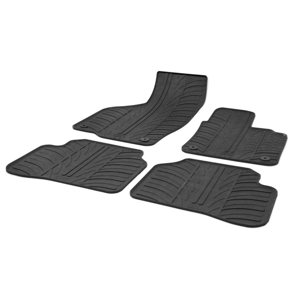 Tailored Black Rubber 4 Piece Floor Mat Set to fit Volkswagen Passat Mk.7 2010 - 2014