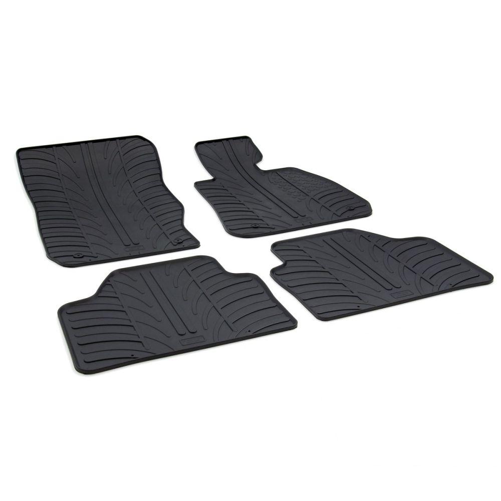 Tailored Black Rubber 4 Piece Floor Mat Set to fit BMW X1 (E84) 2009 - 2015