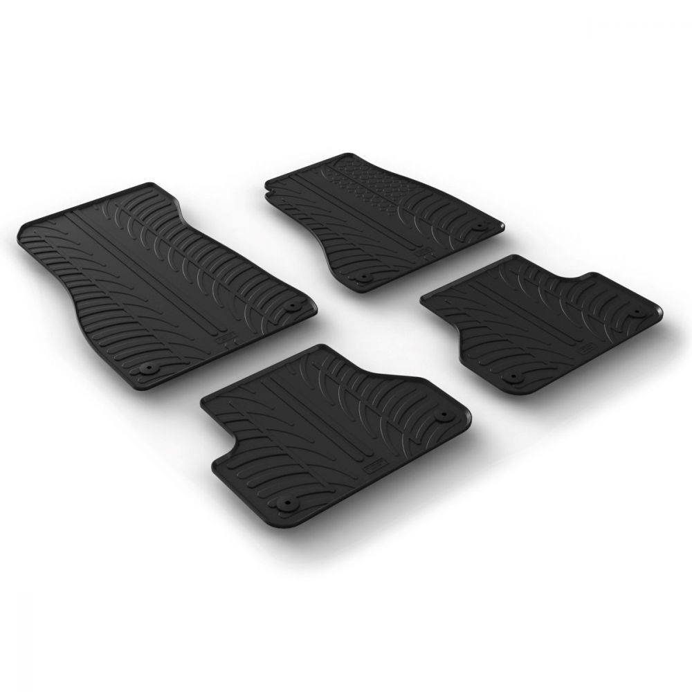 Tailored Black Rubber 4 Piece Floor Mat Set to fit Audi A4 Saloon & A4 Avant (B9) 2016 - 2020