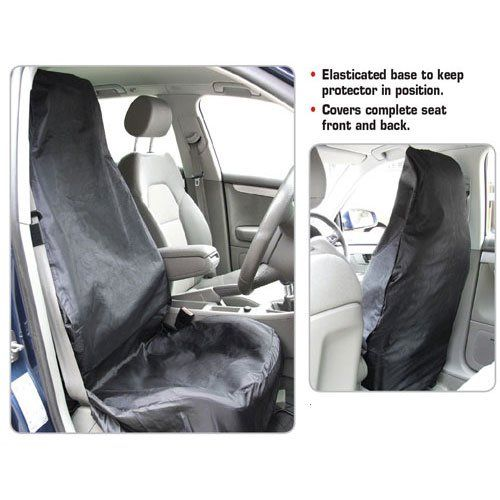 Single Front Black Car Seat Protector Cover