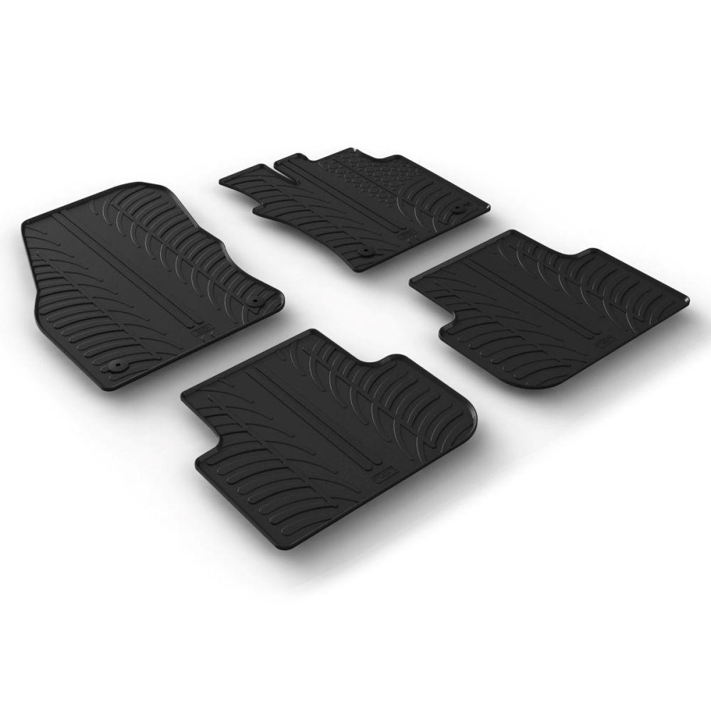 Tailored Black Rubber 4 Piece Floor Mat Set to fit Volkswagen Tiguan Mk.2 2016 - 2020