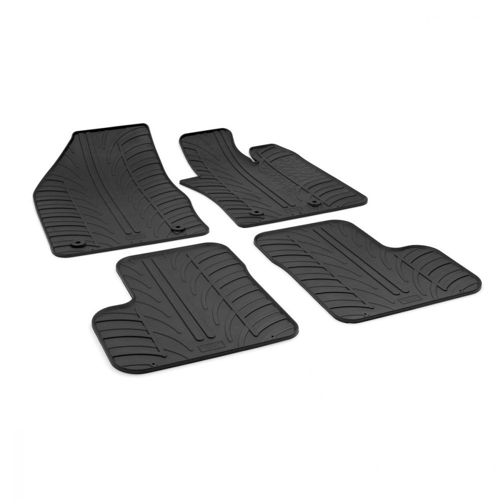 Tailored Black Rubber 4 Piece Floor Mat Set to fit Fiat 500X 2015 - 2020