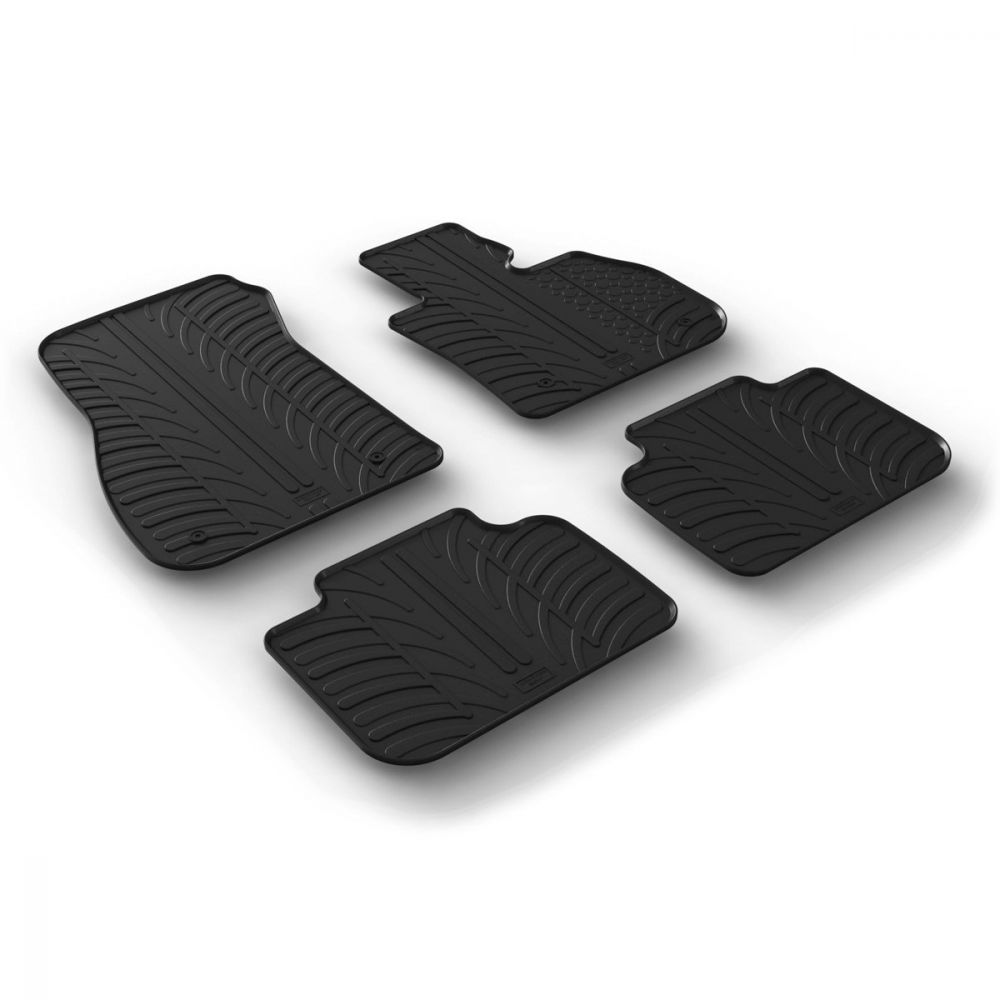 Tailored Black Rubber 4 Piece Floor Mat Set to fit BMW X1 (F48) 2015 - 2020