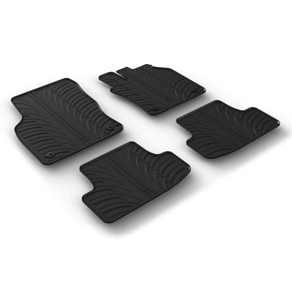 Tailored Black Rubber 4 Piece Floor Mat Set to fit Audi Q2 2016 - 2020