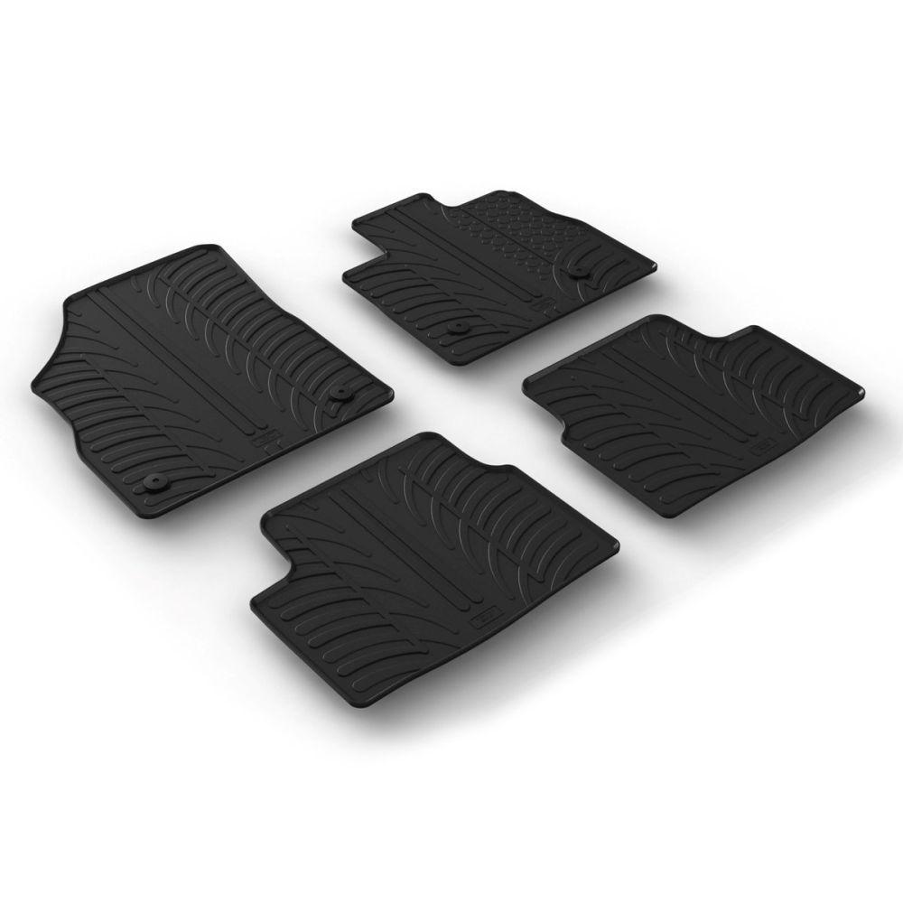 Tailored Black Rubber 4 Piece Floor Mat Set to fit Vauxhall Astra Hatchback & Sports Tourer (K) Mk.7 2016 - 2020