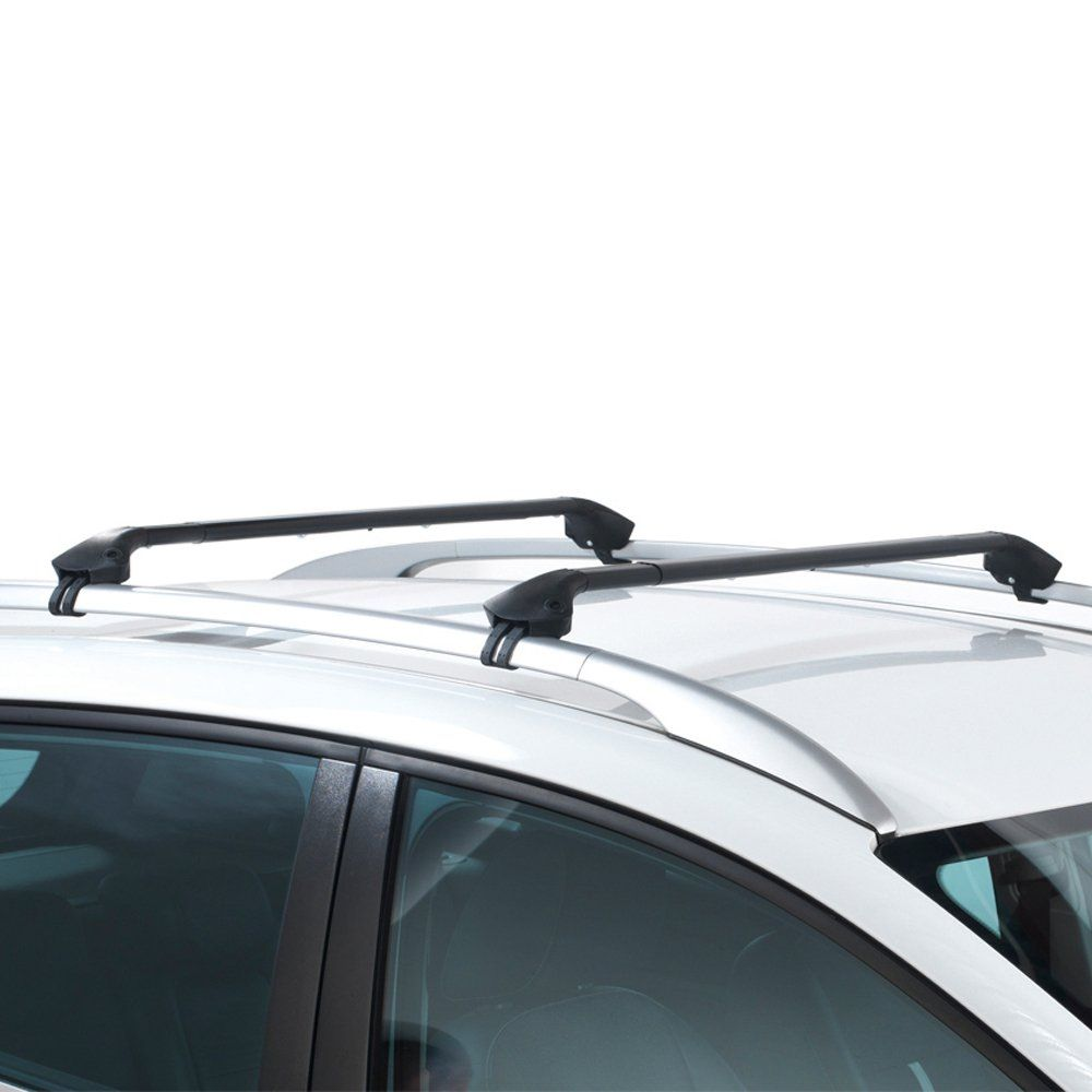 Oval Aluminium Black Roof Bars to fit Toyota Corolla Verso 2002 - 2006 (Open Roof Rails, MPV)