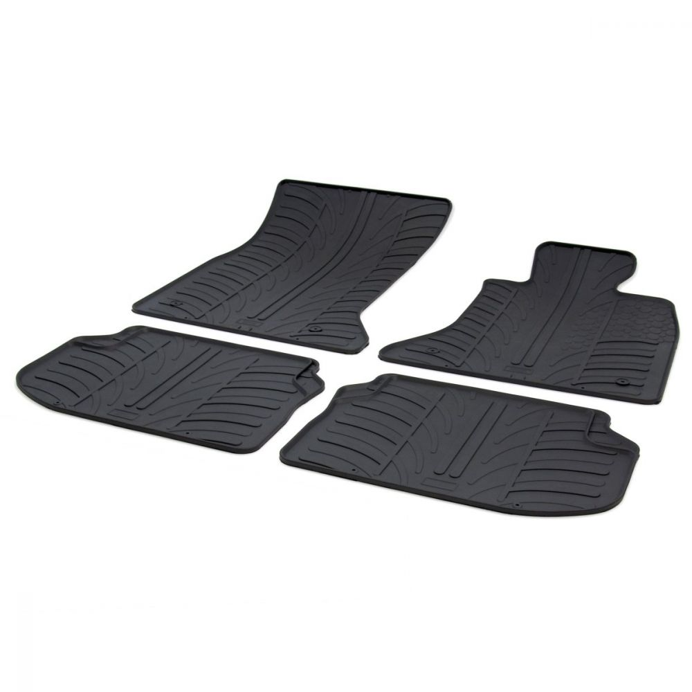 Tailored Black Rubber 4 Piece Floor Mat Set to fit BMW 5 Series (F10/F11) 2010 - 2016