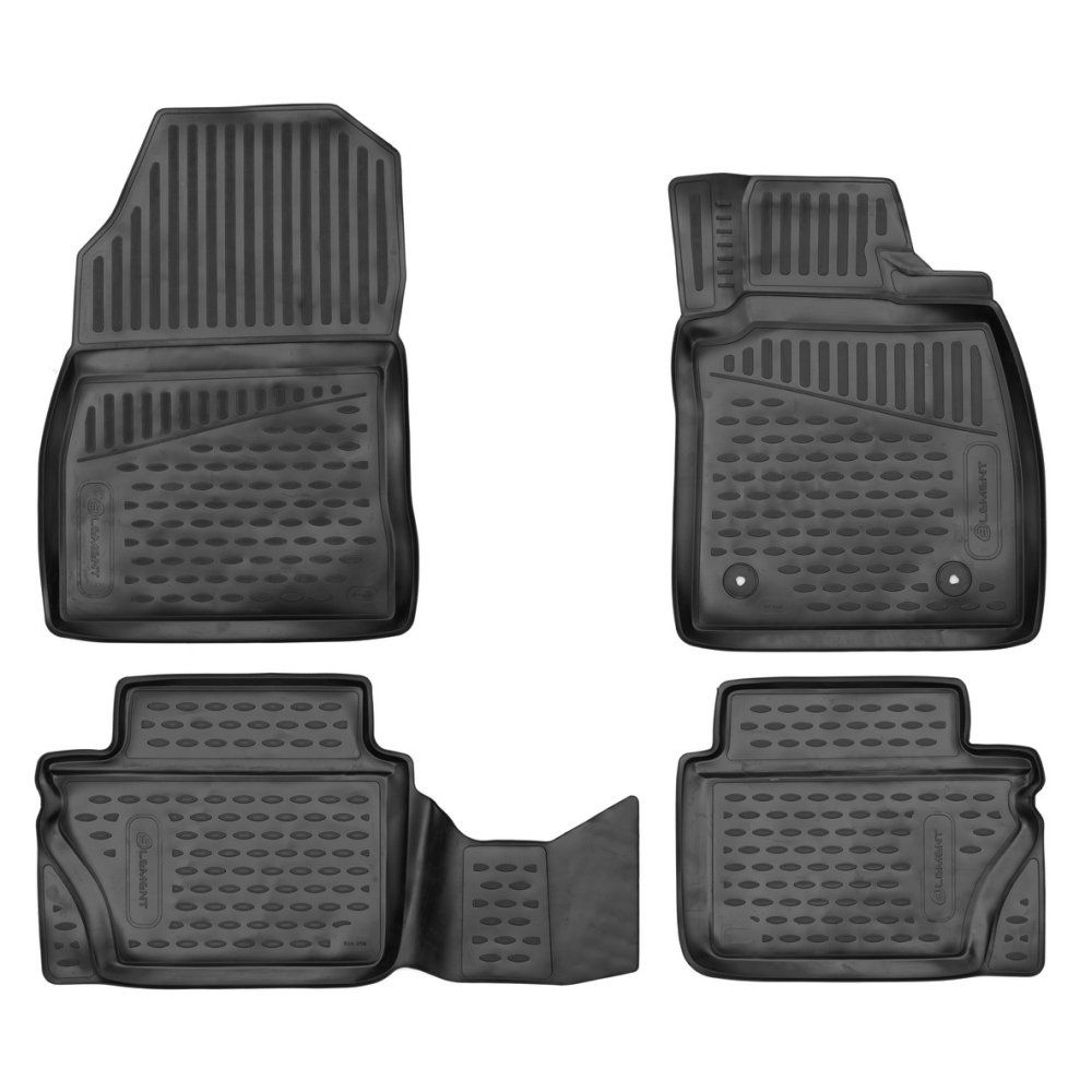 Tailored Black Rubber 4 Piece Floor Mat Set to fit Ford Fiesta Mk.8 2017 - 2021