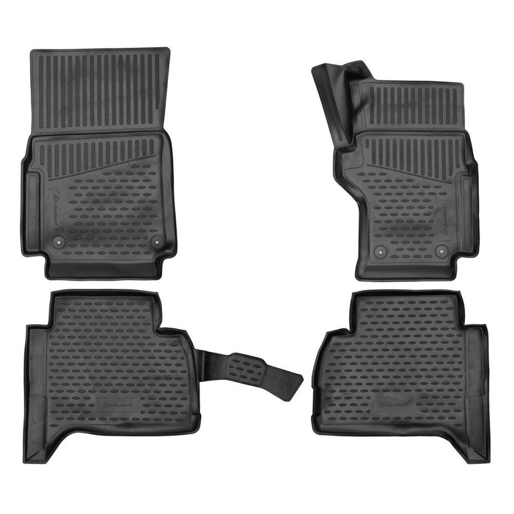 Tailored Black Rubber 4 Piece Floor Mat Set to fit Volkswagen Amarok (Double Cab) 2019 - 2020