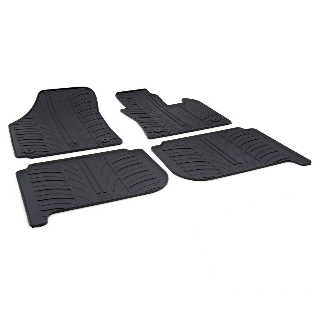 Tailored Black Rubber 4 Piece Floor Mat Set to fit Volkswagen Touran Mk.1 2003 - 2015