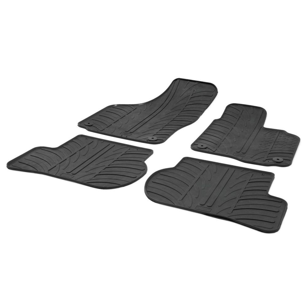 Tailored Black Rubber 4 Piece Floor Mat Set to fit Skoda Octavia Mk.2 2004 - 2013