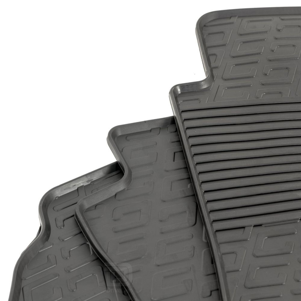 Tailored Black Rubber 3 Piece Floor Mat Set to fit Volkswagen Transporter T5 2003 - 2015 (No Fixings)