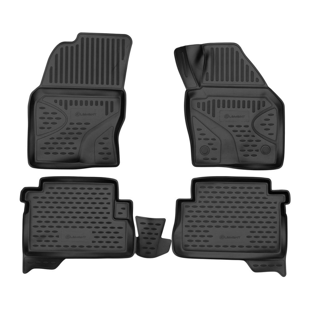 Tailored Black Rubber 4 Piece Floor Mat Set to fit Ford Kuga Mk.2 2013 - 2016
