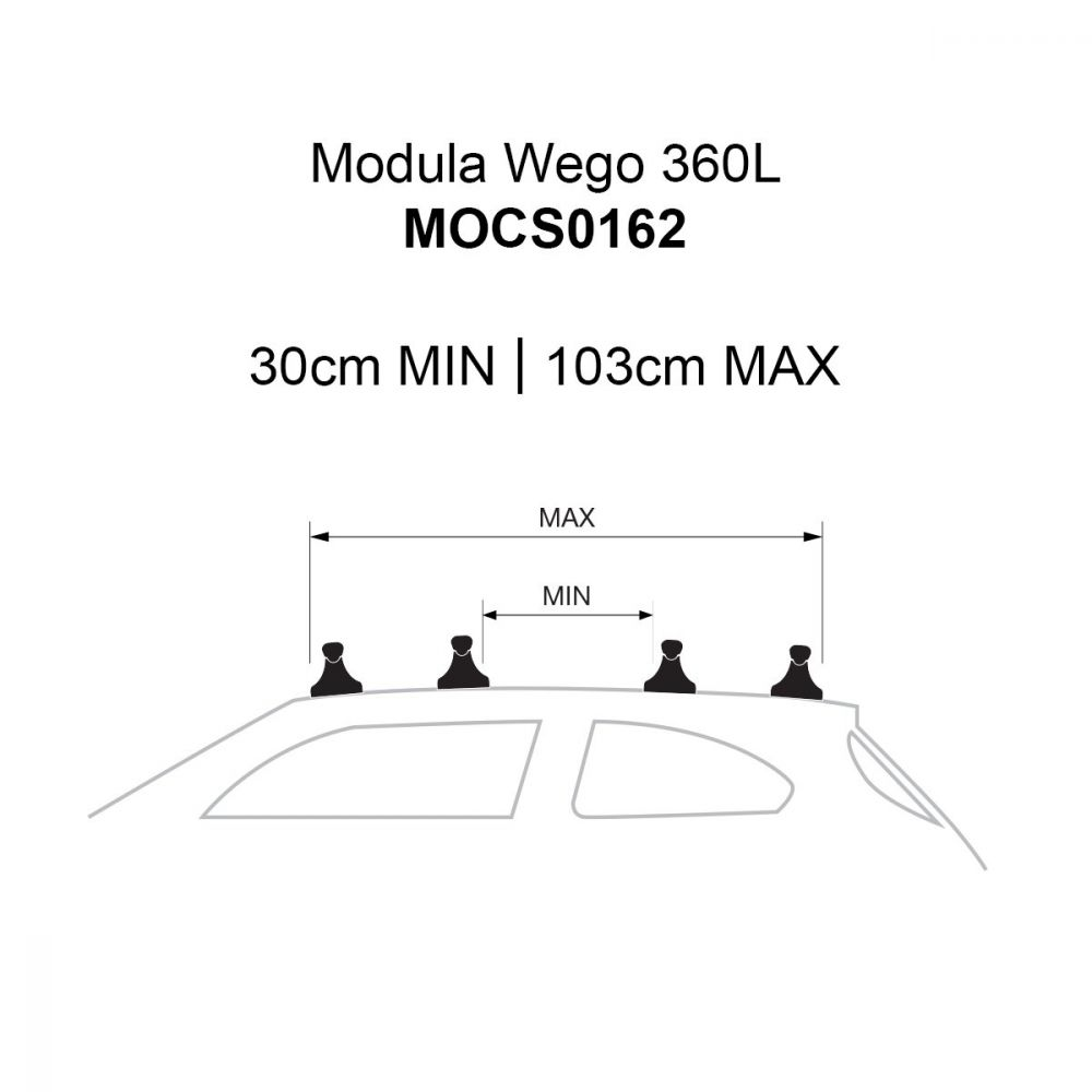 Wego 360L Gloss Black Roof Box