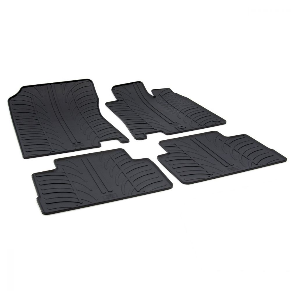 Tailored Black Rubber 4 Piece Floor Mat Set to fit Nissan Qashqai (J11) 2014 - 2020