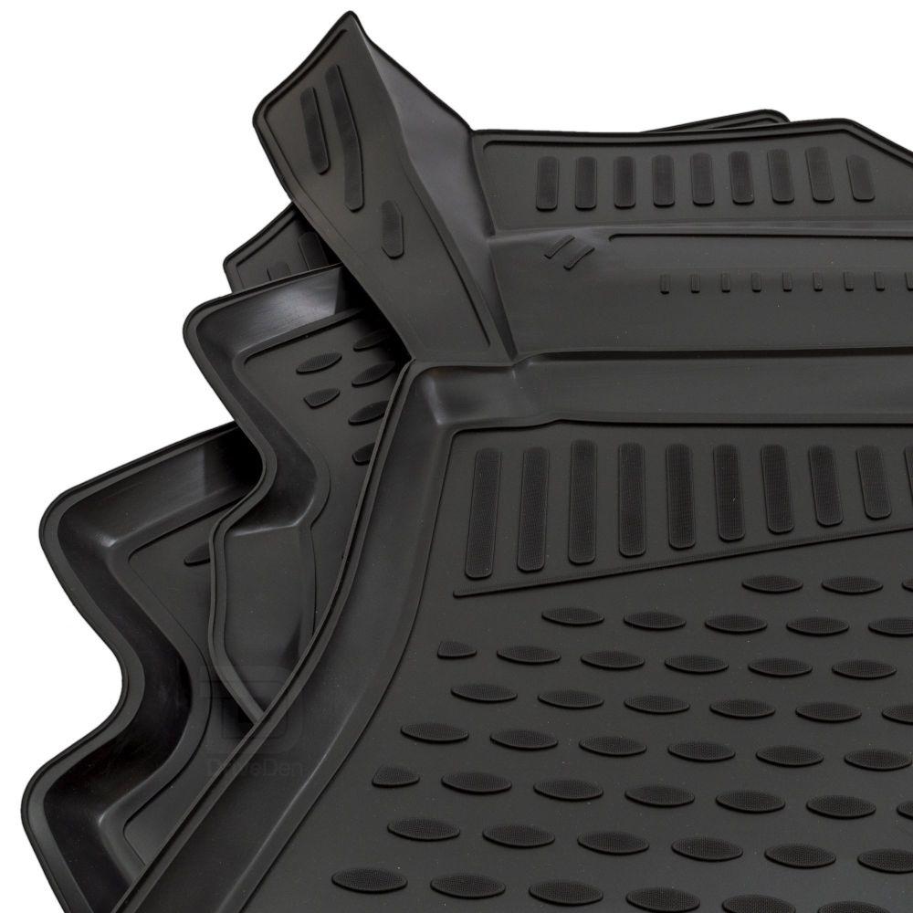 Tailored Black Rubber 4 Piece Floor Mat Set to fit Audi A4 Saloon & A4 Avant (B9) 2016 - 2020