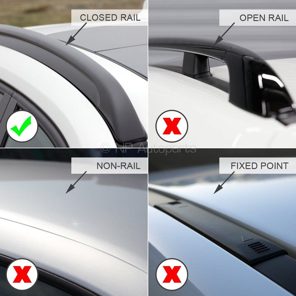 Oval Aluminium Black Roof Bars to fit Volkswagen Passat Alltrack Estate 2015 - 2020 (Closed Roof Rails)