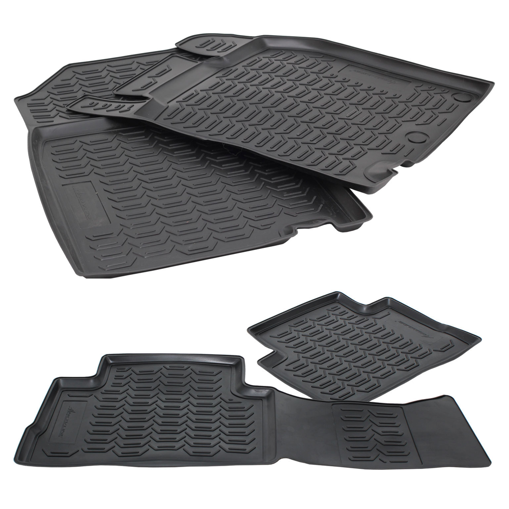 Tailored Black Rubber 4 Piece Floor Mat Set to fit Nissan Qashqai (J11) 2014 - 2020