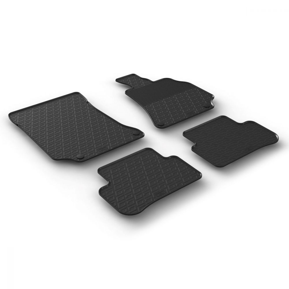 Tailored Black Rubber 4 Piece Floor Mat Set to fit Mercedes E Class (W212/S212) Saloon & Estate 2013 - 2016