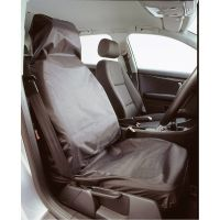 Vented Single Front Black Car Seat Protector Cover