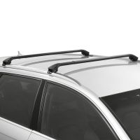 Oval Aluminium Black Roof Bars to fit Vauxhall Mokka X 2016 - 2019 (Closed Roof Rails, SUV)